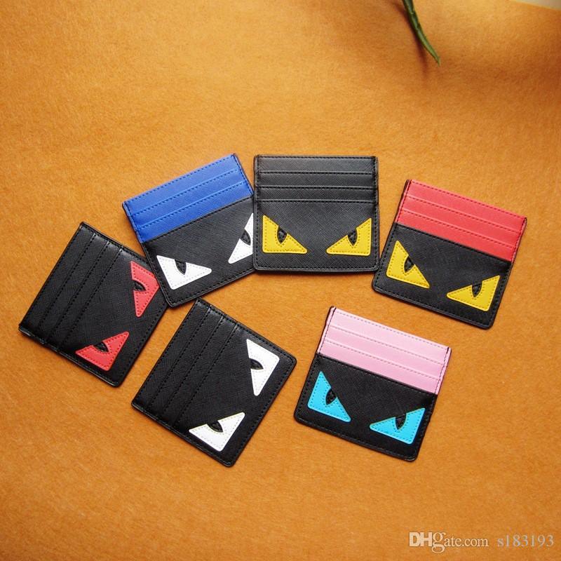 Fendi Designer-Kartenhalter Kreditkartenhalter Leder Spoof Kleines Monster Clip Bank Tasche Menskartenhalter Super Slim Brieftasche 4 Arten