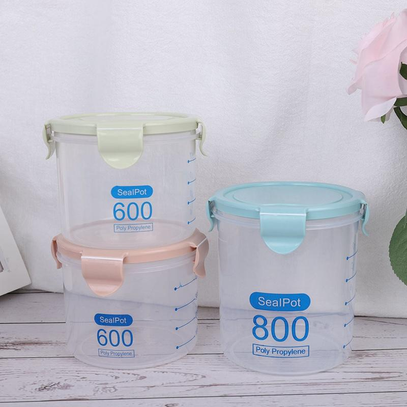 Three Colors 600-1000 ml Kitchen Storage Box Sealing Storage Container Preservation Plastic Fresh Pot Container