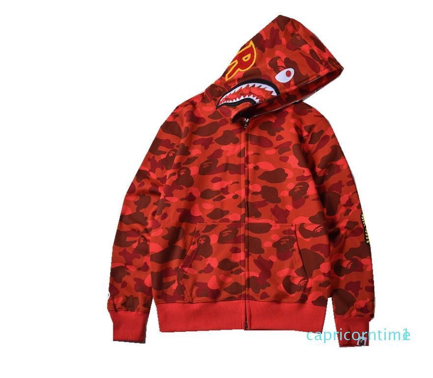 Осень Зима Новый Мужчины Женщины Повседневная Red Camo сращивания с капюшоном толстовки куртки Lover Zipper Кардиган ватки фуфайки пальто