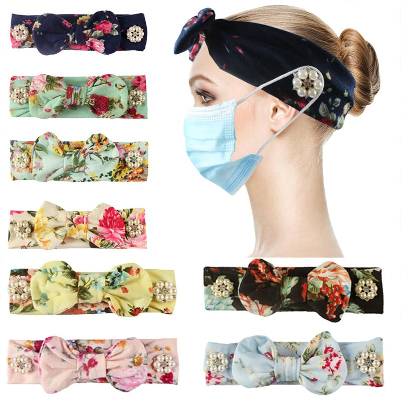 DHL Shipping Mask Buttons Headband Flower Sport Gym Elastic Hair Band With Button Wearable Face Mask Protect Ear Yoga Sweat Absorbing X205FZ