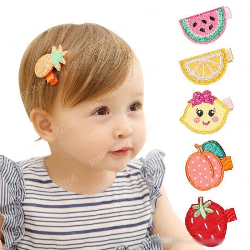 24 adet / lot Kızlar Meyve Tasarım Klip Saç Klipler Çocuk Prenses Nakış Tokalar Klipler El yapımı Tokalar Sevimli Çocuk Headdress