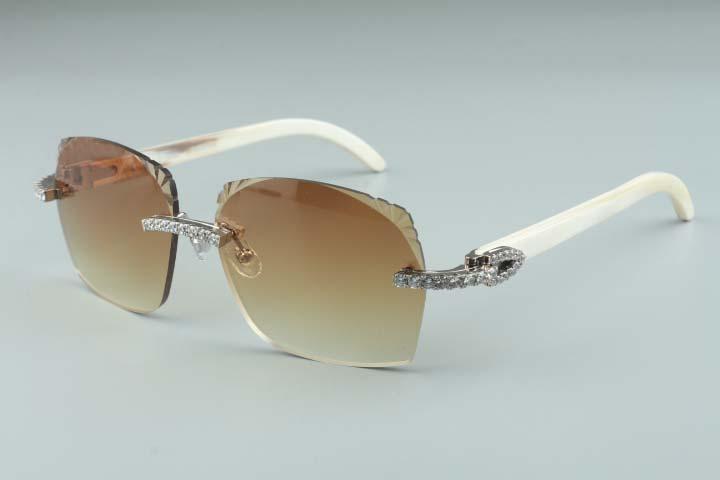 2019 diamantes de estilo más nuevo diseño T3524018-3 micro corte lentes de gafas de sol, blanco cuerno de búfalo templos vasos naturales, tamaño: 18-140mm