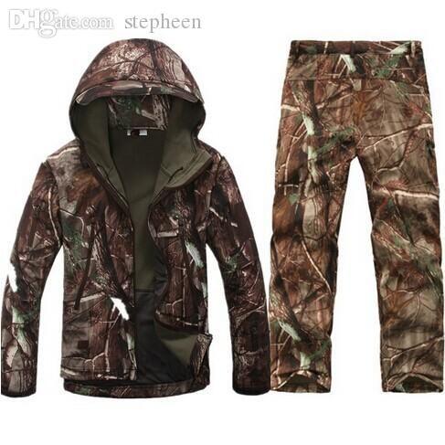 Осень-Tactical Softshell Men Army Sport Waterproof Охота Одежда Установить куртка + штаны Камуфляж Открытый пиджак