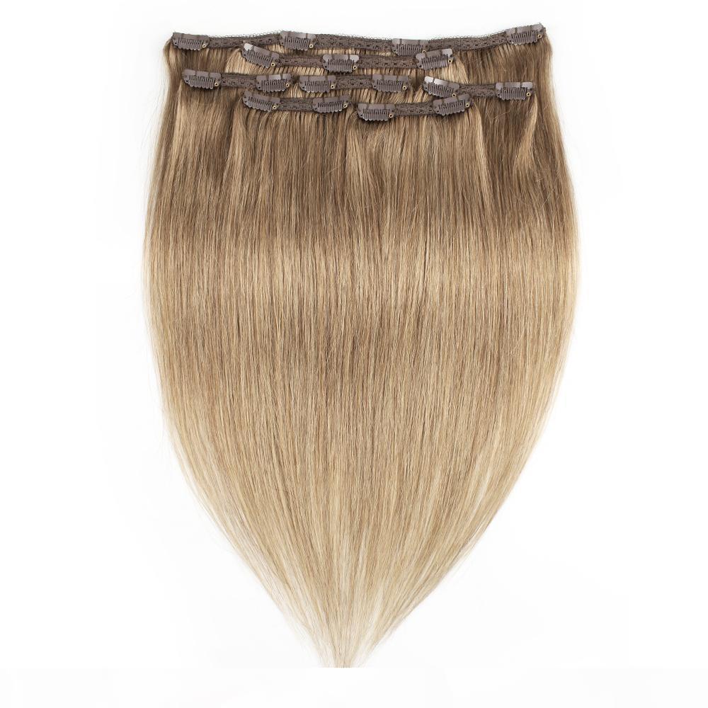Kisshair 7 pièces Clip dans l'extension des cheveux # 8 Cendres Blonde Couleur Remy Indien Brésilien Human Cheveux Human Tisson 100g 110g