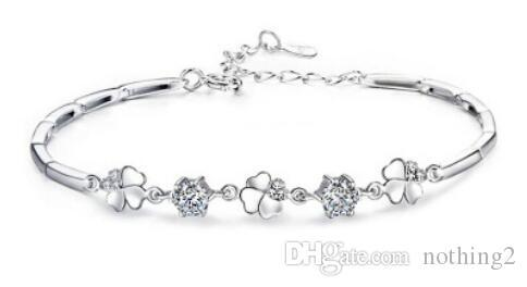 S925 Sterling Silver Crystal Bracelet jewelry simple bracelet for women /girls New fashion free of shipping