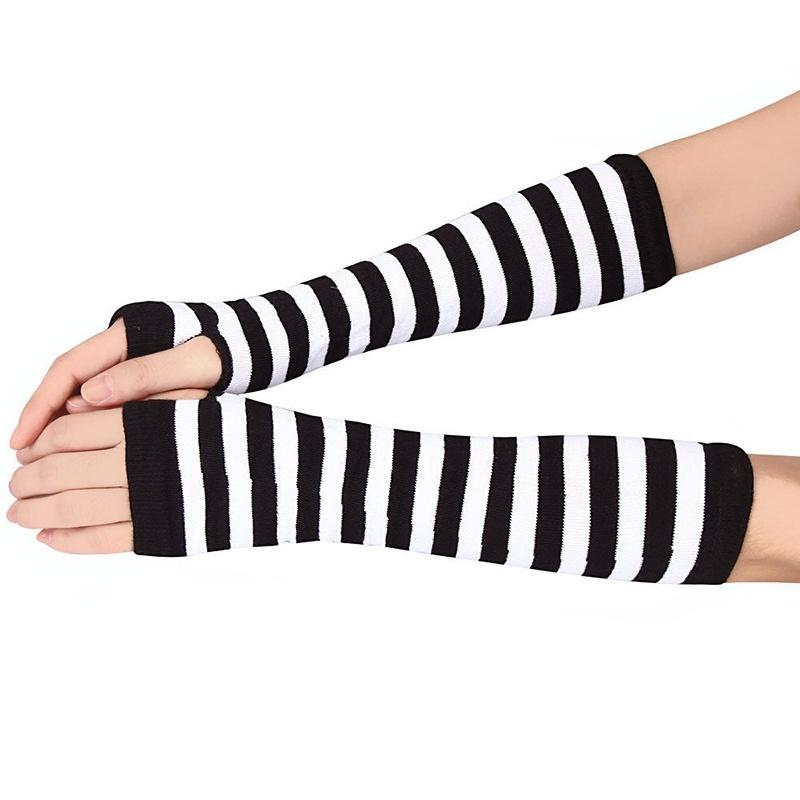 New Arrival Lady Stretchy Soft Knitted Wrist Arm Warmer Long Sleeve Fingerless Gloves Striped