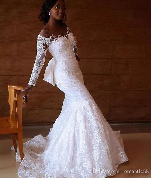 Sudáfrica Sirena Vestidos de novia Sheer Jewel Cuello de manga larga Vestido de novia de encaje por encargo Manga larga Vestido de novia