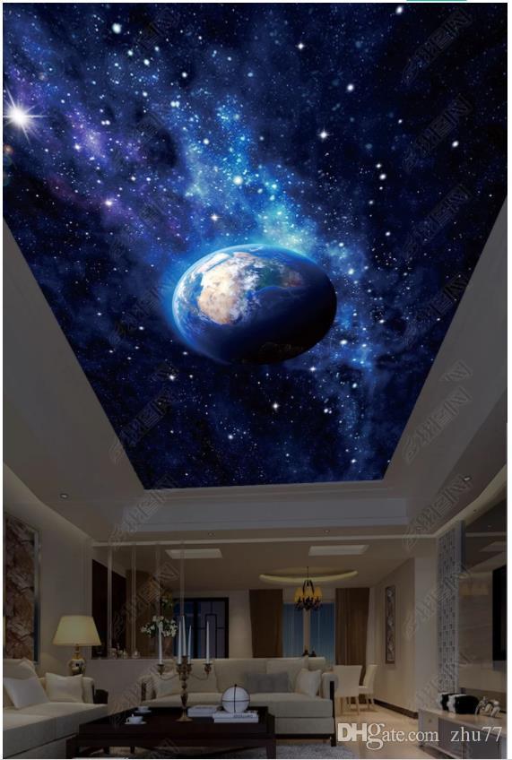Personalizado Grande 3d teto céu estrelado papel de parede foto HD grande imagem bela céu estrelado terra sala zenith teto Mural Adesivo de Parede