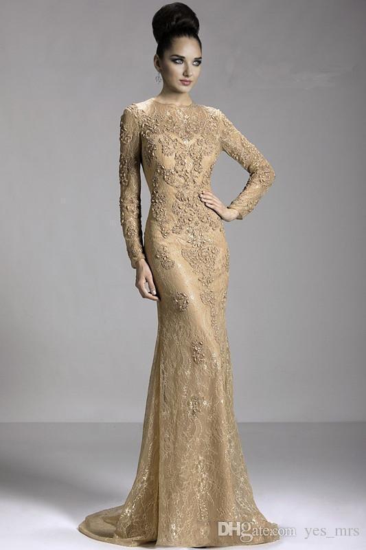 2021 Mãe de Champagne de Ouro Vintage da Noiva Vestidos De Mermaid Jewel Decote Long Sleeves Lace Appliques Plus Size Party Dress Vestidos de Noite