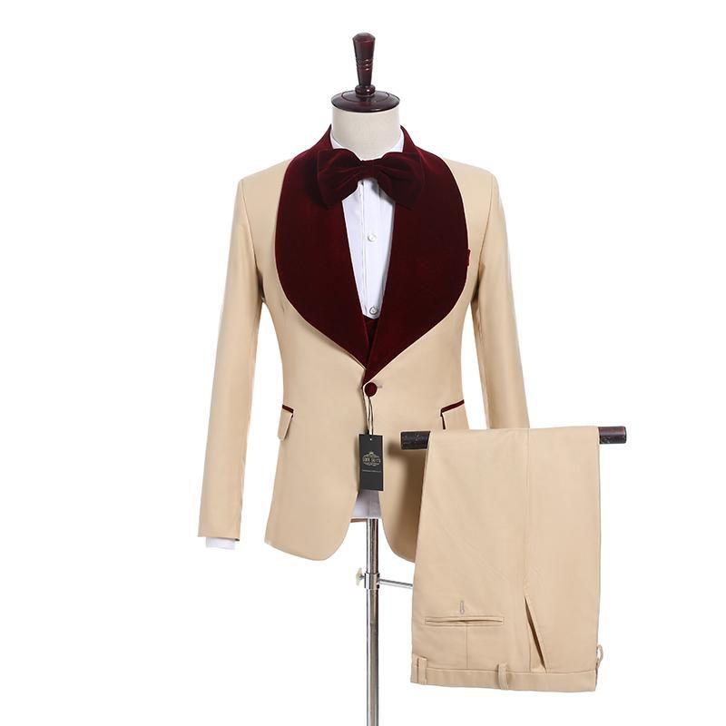 New Arrival One Button Beige Wedding Groom Tuxedos Wine Velvet Shawl Lapel Groomsmen Men Suits Prom Blazer (Jacket+Pants+Vest+Tie) W21