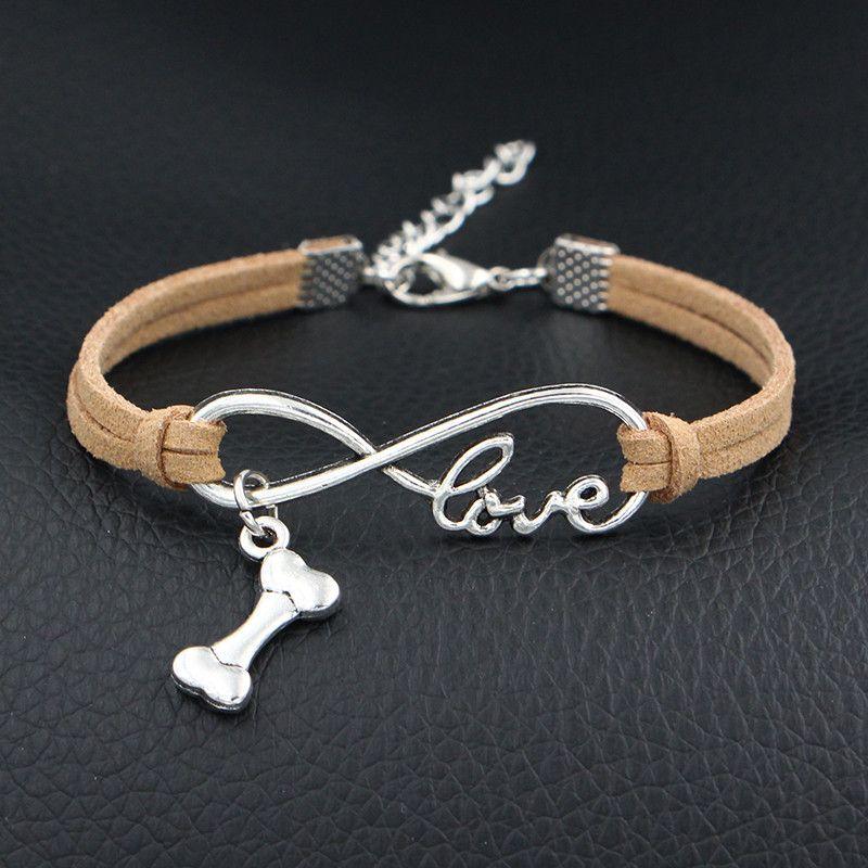 2018 Antique Silver Plated Infinity Love Dog Bone Pan Charm Bracelet Beige Leather Rope Bracelet Bangle for Women Men Jewelry Gift Wholesale