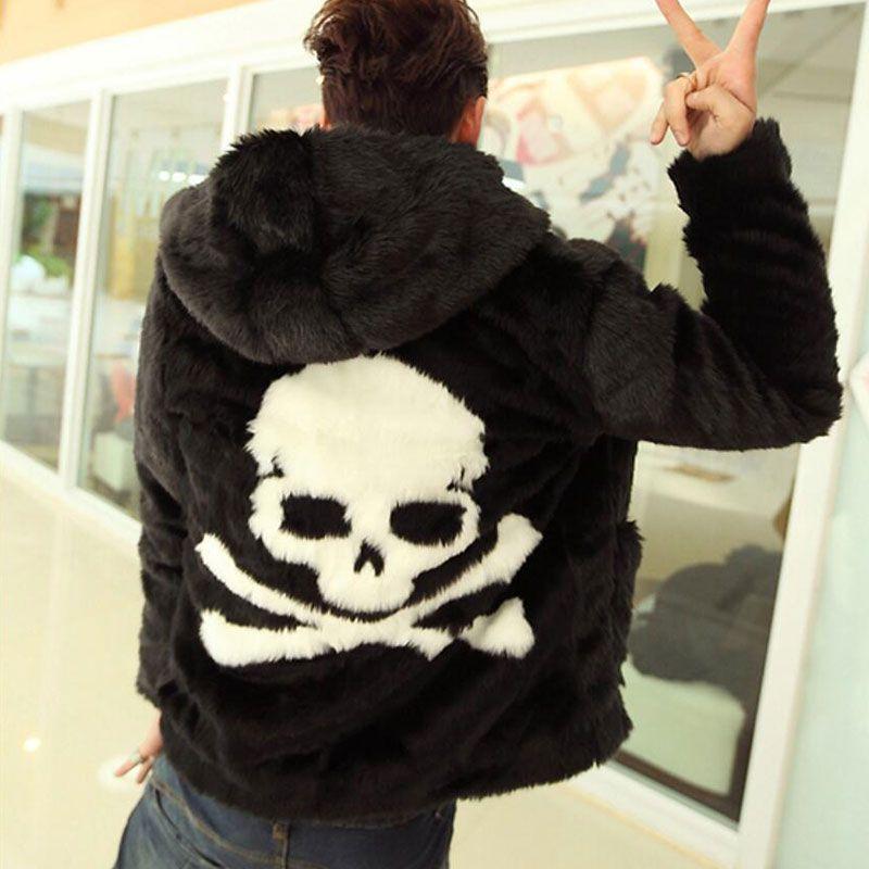 2019 otoño invierno de piel Abrigo de piel abrigos hierba patrón de cráneo masculina con capucha faux abrigo de piel chaqueta negro acogedor