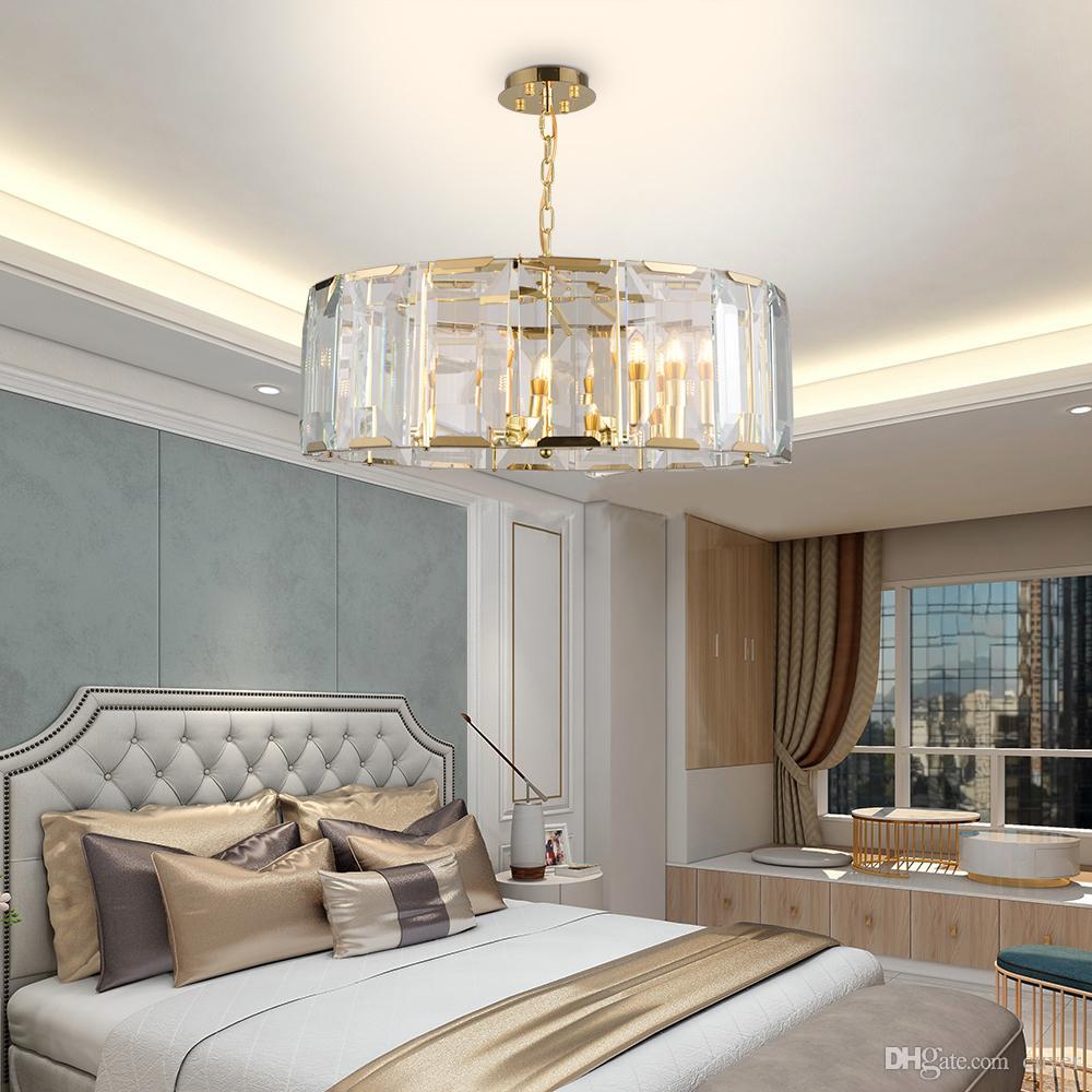 Круглая чистая хрустальная люстра освещение гостиной спальни столовая висит лампы роскошные золотые светильники