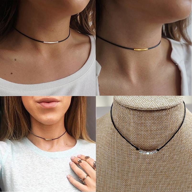 Halskette einfachen Stil schwarze Farbe Schnur-Seil durch Kunststoff-Platz Würfel oder Metallrohr Gold-Silber-Farbe überzogen Frauen Zusatz