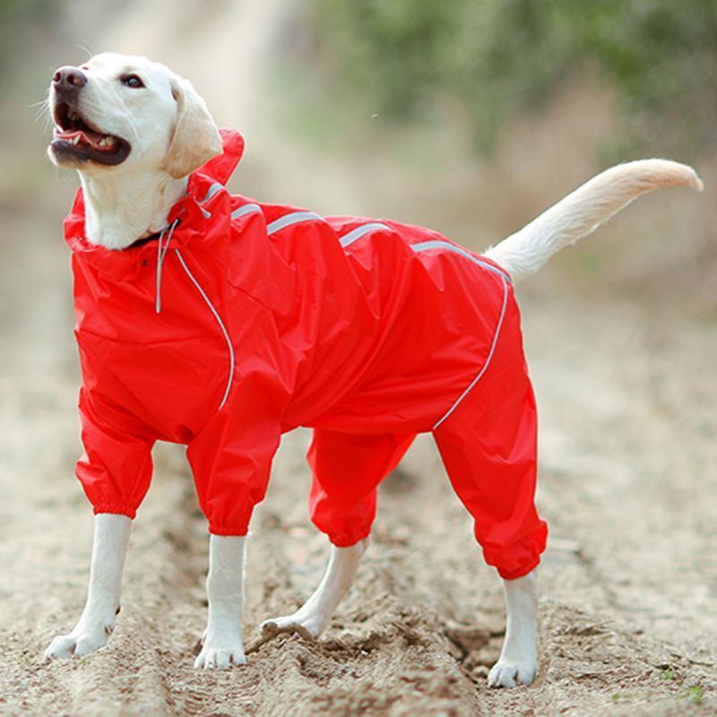 Pet impermeabile del cane riflettenti Abbigliamento impermeabile con collo alto con cappuccio tuta per le piccole Big Rain Dogs Mantello Golden Retriever Labrador
