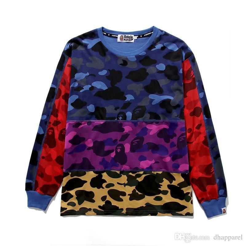Commercio all'ingrosso Autunno Inverno Adolescente Camo Stitching Casual girocollo maglione con cappuccio da uomo Casual Pullover allentato Hip Hop maglione
