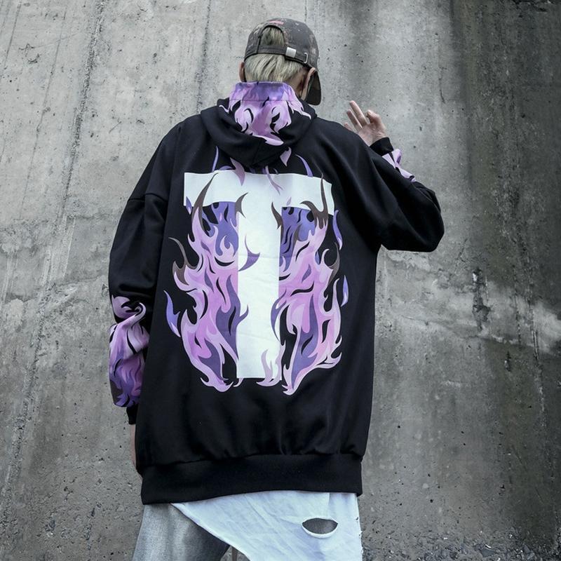 2019 Moda Sokak Katı Pamuk T Kapüşonlular Hoody Hip Hop Swag Tyga Delik Sonbahar Sweat