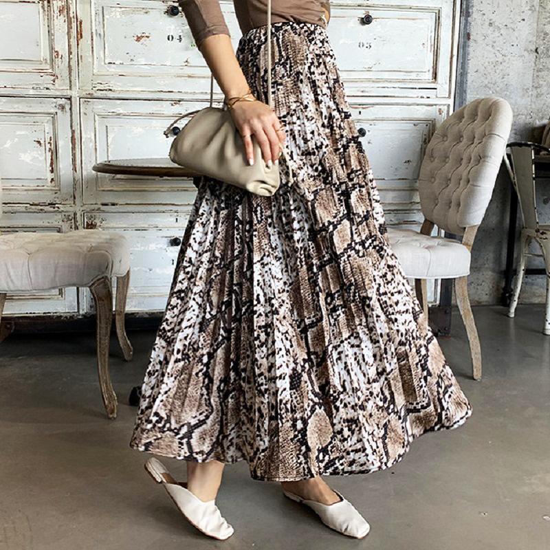 AprilGrass бренд дизайнер повседневная Женская пляжная юбка женская змея печати Высокая Талия Плиссированная юбка старинные тонкие плиссированные юбки слово юбки