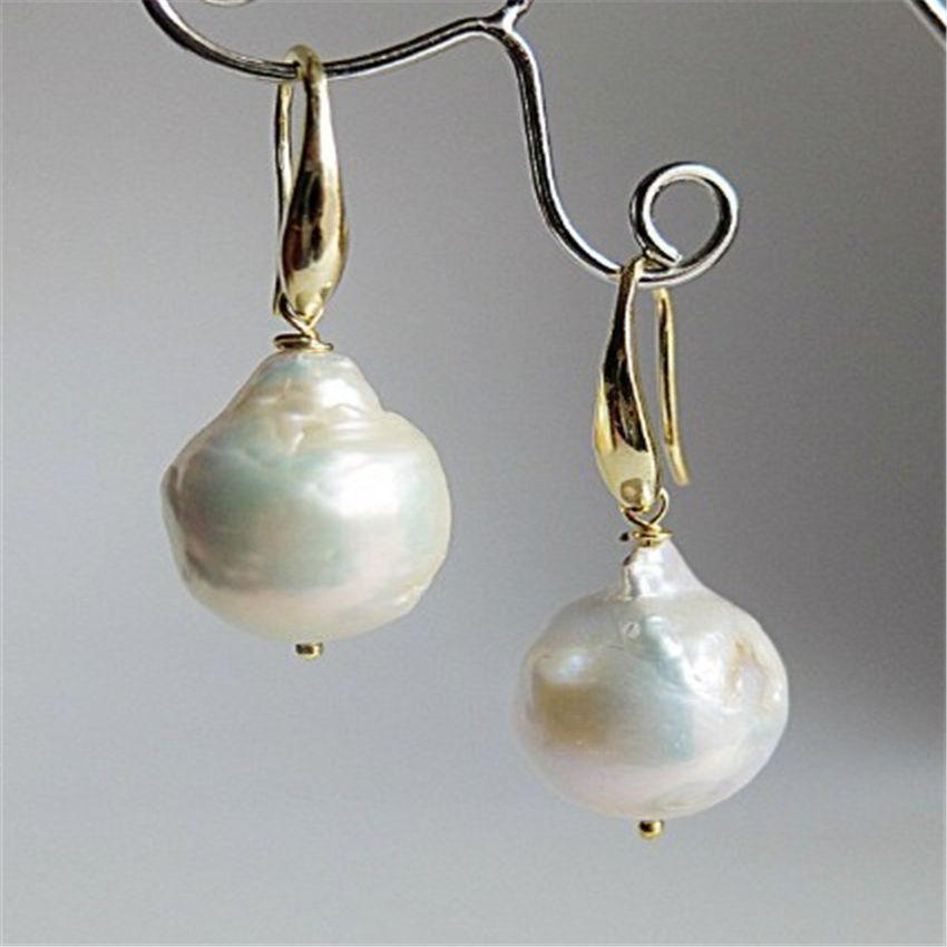 13-14MM Huge White baroque pearl earrings 18K GOLD south sea Ear Dangle Hook