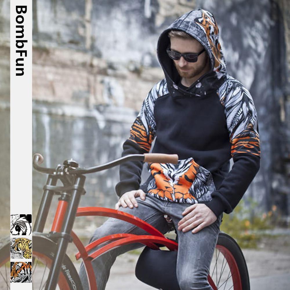 BombFun 남성 후드 동물 3d 스웨터 남성 까마귀 호랑이 표범 인쇄 후드 커플 운동복 여성 후드 높은 품질