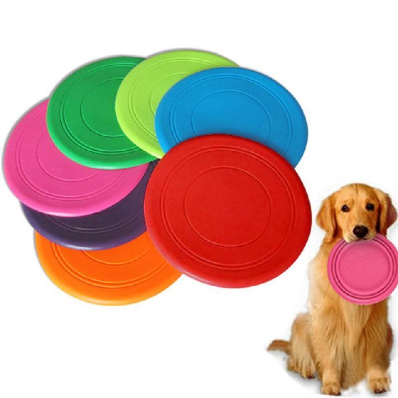 Pet kedi ve köpek silikon frizbi oyuncak interaktif yaratıcı oyun antrenman yanıtı 7 renk ısırığı dayanıklı hayvan oyuncak
