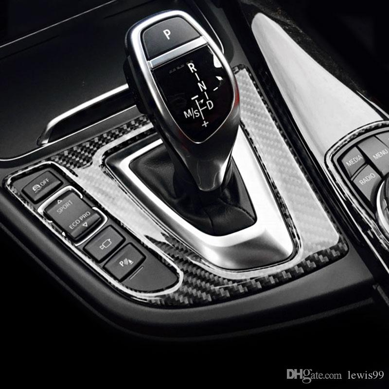 For bmw 3 series F30 F34 Carbon Fiber Car Center Control Gear Shift Panel Decorative Sticker Interior Trim For 320i Accessories