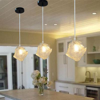 Nordic Dinning Room Hanging Ceiling Lamps Modern LED Glass Pendant Lamp Lights Ice stone Loft Chandeliers Bedroom Light Fixtures