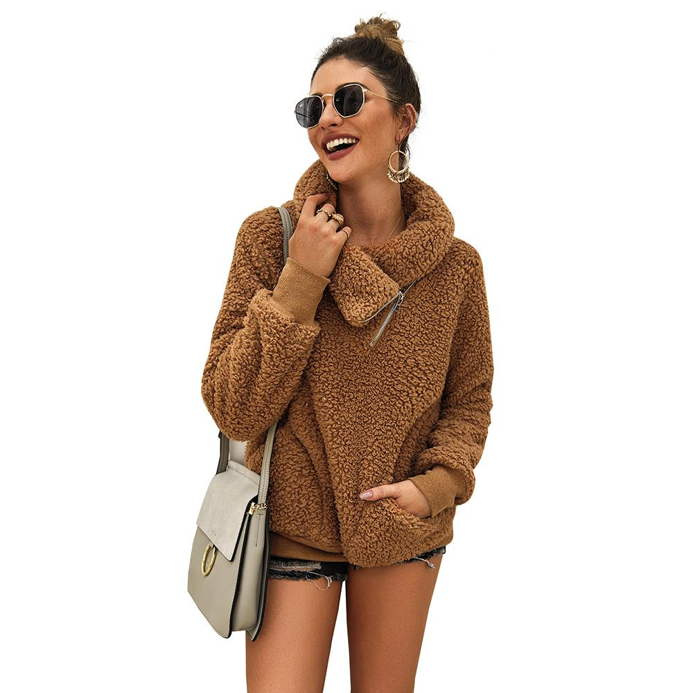 Fleece Thick Oversized Knitted Sweater Women Scarf Collar Neck Faux Fur Casual Pullovers Christmas Knit Sweater Jumper