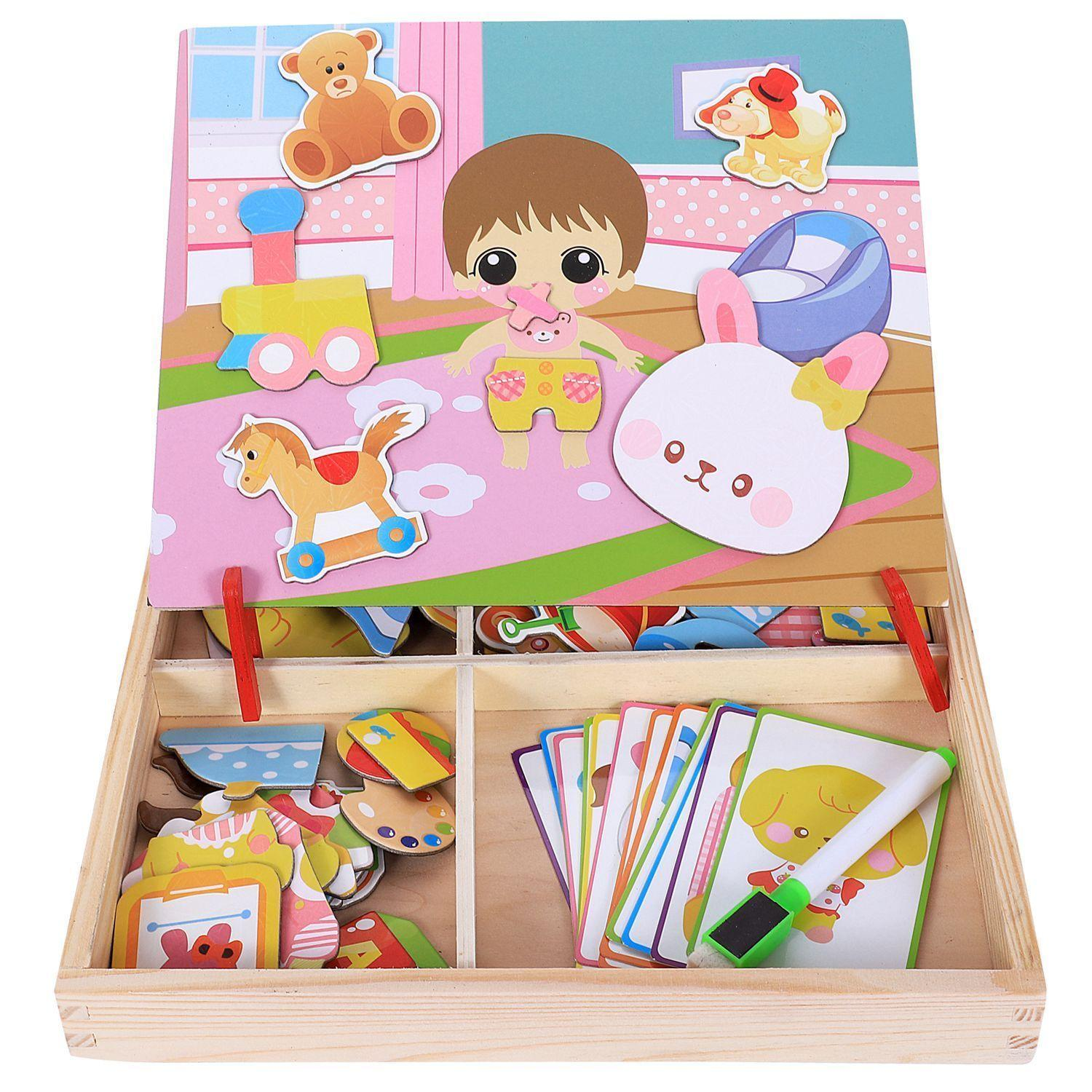 Magnetic Fun Jigsaw Children Wooden Puzzle Board Box Pieces Games Cartoon Educational Drawing Baby Toys For Girls Boys, Ba
