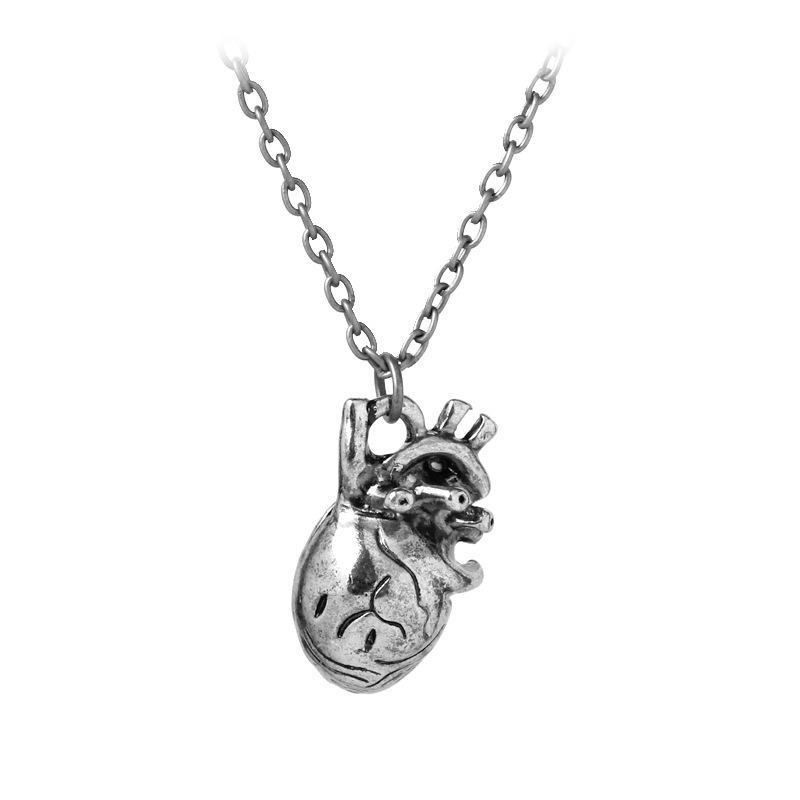 Anhänger Halsketten 2021 Edelstahl Punk Anatomia Herz Anatomie Schmuck Schwarzes Gold Anatomische Halskette