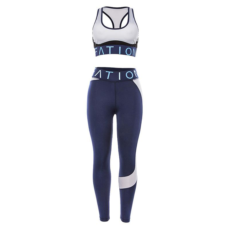 2ST Lady Design-Gyms Anzug Dual Color Splice Active Stretchy Hosen Übung BH Tank-Top Jogging Yoga Sets S M L 49 9SX E19