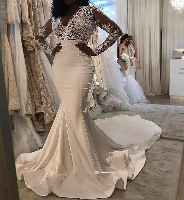 2020 Новый See Through Top Свадебные платья Русалка атласная суд Поезд с Illusion рукавами кружева аппликация свадебное платье Свадебные платья дешевые
