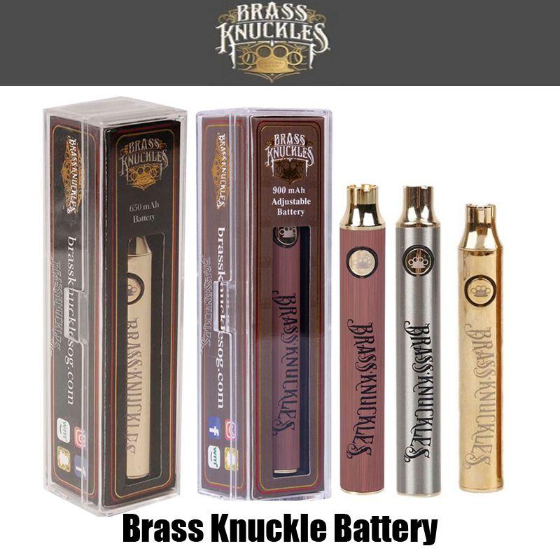 Hot Brass Knuckles Vape Battery 650mAh Gold 900mAh Variable Voltage Adjustable E-Cigarette Battery Pen For 510 Thread Thick Oil Cartridge