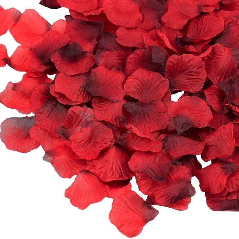 발렌타인 데이 웨딩 꽃 장식을위한 7000 조각 어두운 빨간색 실크 장미 꽃잎 인공 꽃 꽃잎