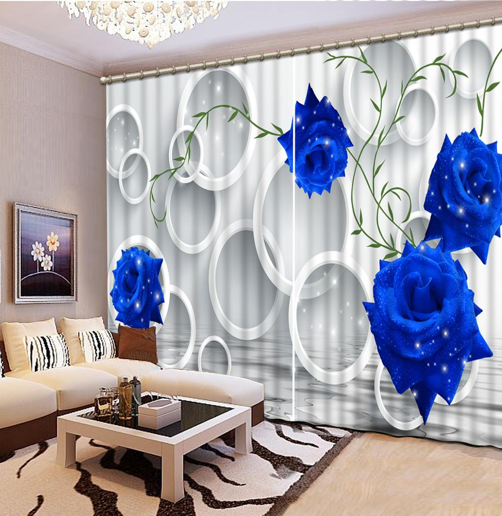 estilo europeo 3D cortina encargo de la foto azul 3d círculo Salón Office Hotel Inicio decorativo cortina de ventana moderna se levantó