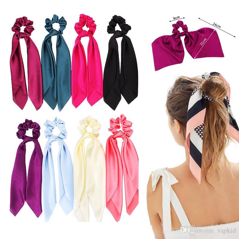 21 Estilo de cola de caballo banda para el cabello cintas para el pelo de la cuerda de la bufanda elástico del pelo para las niñas Bandas Mujeres Pajaritas pelo de la flor de la cinta de Navidad Imprimir Hairbands B