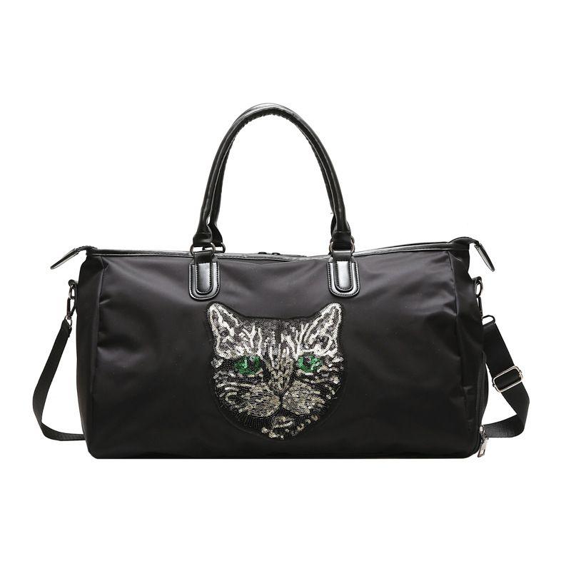Sequins Cat Head Travel Bag Sports Fitness Bag Large Capacity Package Gym Bag Handbag New Fashion