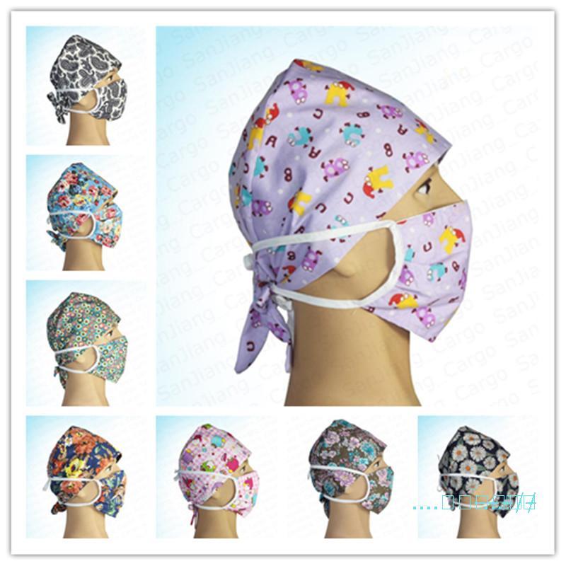 Цветочные цветы мультфильм медсестра Cap Hat Доктор и маска для лица 2 шт Набор моющийся Защитные Хлопок Маски Женщины Мужчины Уход Headwear E41403
