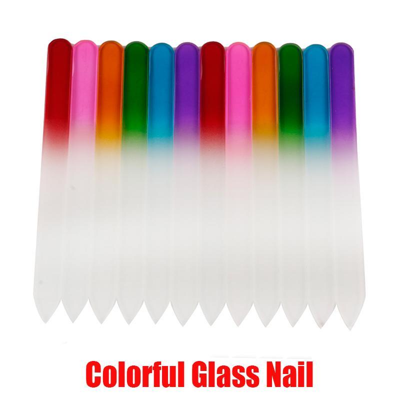 La herramienta del arte colorido de uñas de cristal Archivos cristalina durable de lima de uñas Buffer NailCare de uñas para la herramienta polaca UV manicura