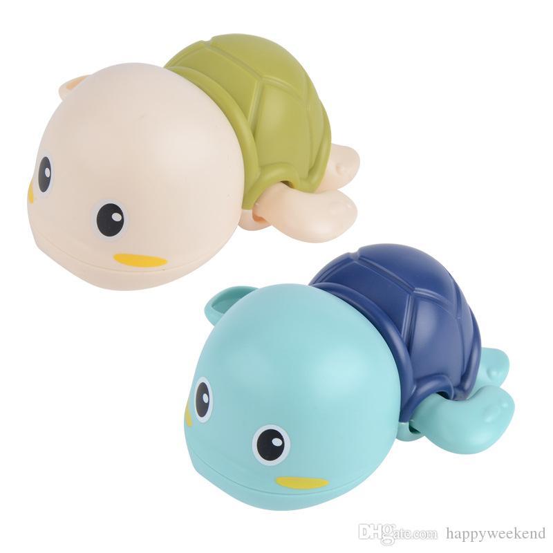 높은 품질 목욕 수영 거북이 장난감 클래식 신생아 만화 동물 거북이 클래식 목욕 장난감 유아 수영 거북이 체인 시계 태엽 장난감
