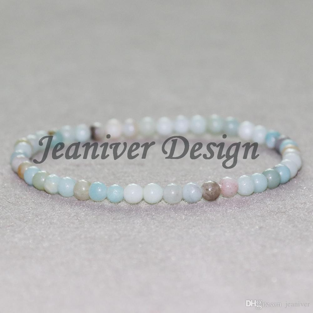 Jeaniver 2019 Nouveau Design Amazonite Bracelet 4 mm Mini Pierre Gemme Yoga Bracelet Meilleures Amoureux Cadeau Bracelet Drop Shipping