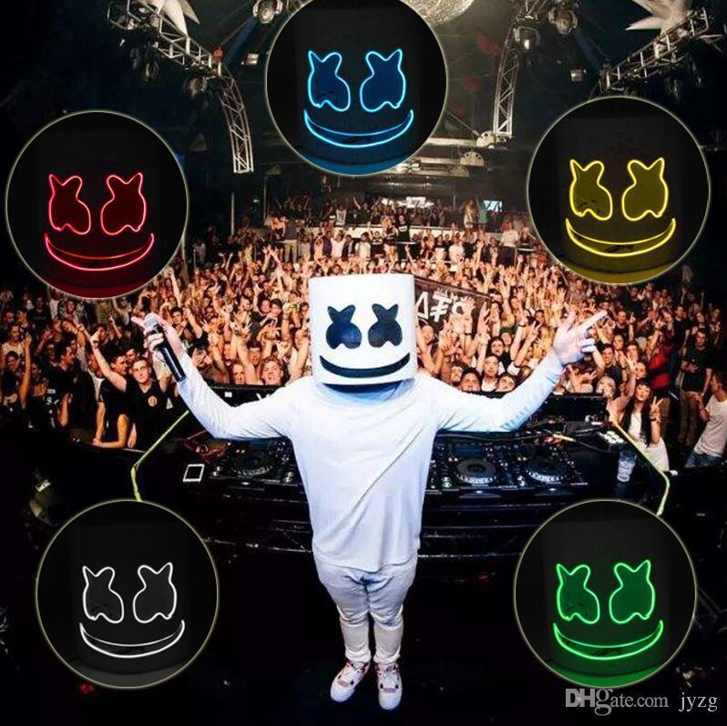 LED Marshmello DJ Mask Helmet Cosplay Costume Halloween Party Props Bar Mask EVA