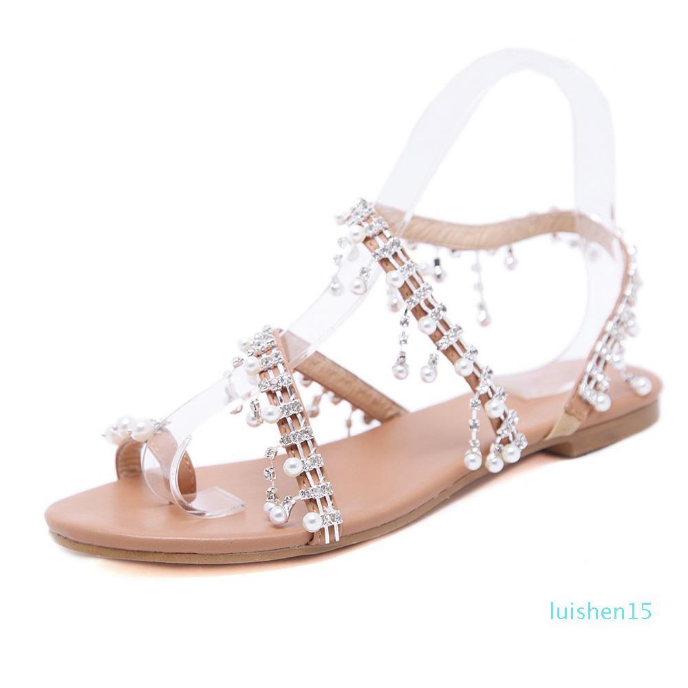 Vente-2019 Hot Femme Perle Gladiator Sandales plates cristal Sandalias Plus Size Chaussure 35-43 L15
