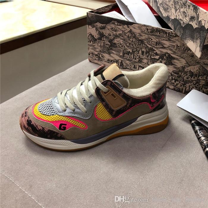 2019 amantes da moda sapatos, sliver multi-cor tênis, apartamentos respiráveis, couro e malha tênis para mulheres homens tamanho 35-44, com caixa