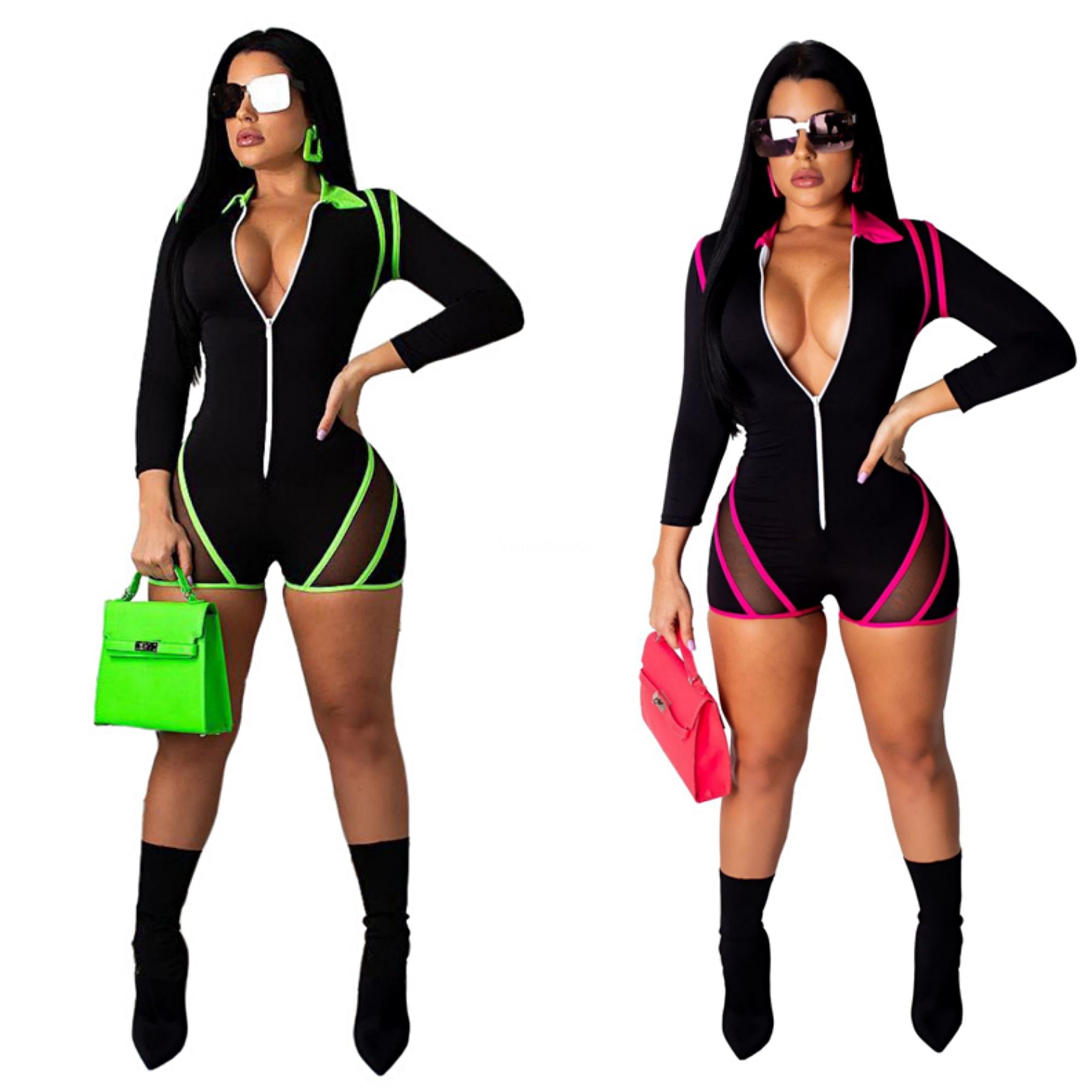 Sexy pagliaccetti delle donne tuta casuale manica lunga chiusura lampo anteriore aderente Tuta Streetwear scollo a V tasche partito tuta # 84570