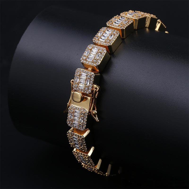 10 мм 7 дюймов 8 дюймов кубический цирконий браслет ледяной теннис браслеты ювелирные изделия золото хип-хоп мужчины браслет-цепочка