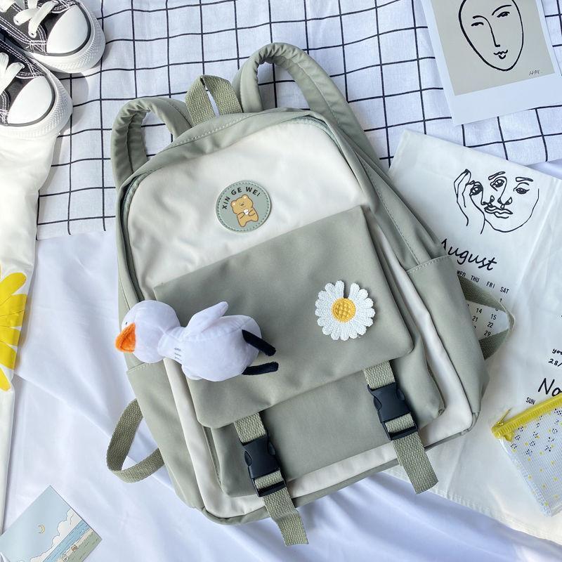 Mädchen Rucksäcke für Jugendliche, Schultaschen nette Karikatur-Nylon Panelled Back Pack Frauen Bagpack Schwarz Adrette Art Studenten Bookbags