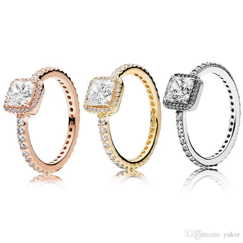 3 색 사각형 CZ 다이아몬드 돌 결혼 반지 원래 판도라을 위해 925 실버 로즈 골드 옐로우 골드는 여성을위한 반지 세트 도금