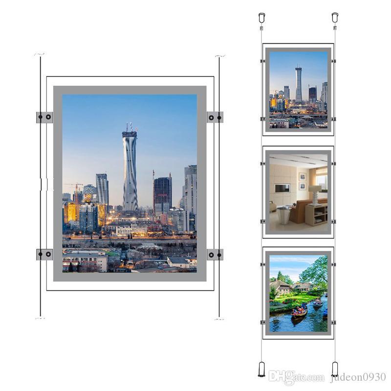(12 unités / paquet) Affichages lumineux muraux de fenêtre à DEL A4 à double éclairement latéral, présentoirs de vitrine pour magasin de détail pour agents immobiliers