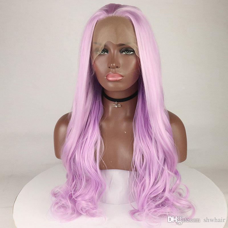 Фиолетовые Синтетический фронт шнурок парики прямого Естественный свет Фиолетовый Половина рука связала жаропрочный волокно волос Lacefront парик для чернокожих женщин